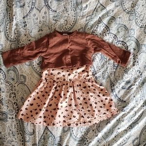 NWOT Baby Girls Pink Dress with Brown Cardigan